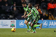 The break is on George Francomb of AFC Wimbledon sets up Ade Azeez of AFC Wimbledon for the winner during the Sky Bet League 2 match between Barnet and AFC Wimbledon at Underhill Stadium, London, England on 20 February 2016. Photo by Stuart Butcher.