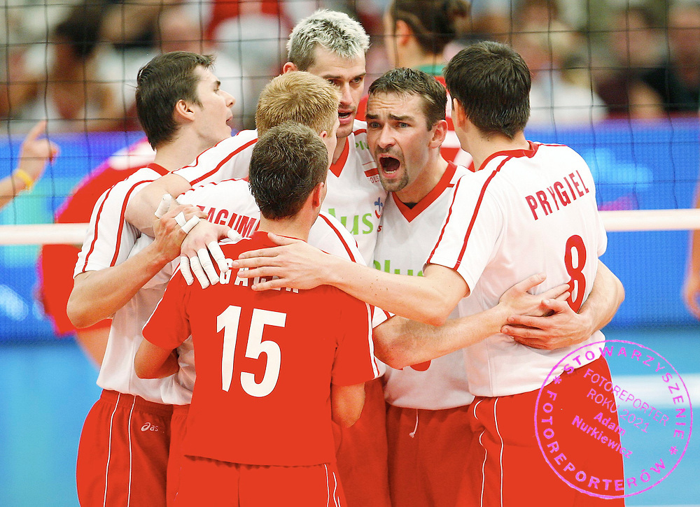 KATOWICE 29/06/2007..VOLLEYBALL WORLD LEAGUE 2007 POOL D INTERCONTINENTAL ROUND.POLAND v BULGARIA.TEAM OF POLAND.FOT. PIOTR HAWALEJ / WROFOTO .