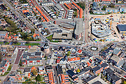 Nederland, Groningen, Gemeente Oldambt,  01-05-2013; centrum Winschoten met  korenmolen Edens aan de Oudewerfslaan, hoek Nassaustraat.<br /> Small provincial town, marketplace, regional centre (northeast Holland).<br /> luchtfoto (toeslag op standard tarieven);<br /> aerial photo (additional fee required);<br /> copyright foto/photo Siebe Swart