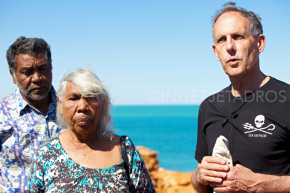 Bob Brown (R)  speaking during a Press Conference with Jo and Teresa Roe, traditional owners. The Sea Shepherd launched Operation Kimberley Miinimbi , as the Ex Senator Bob Brown states that a gas hub near Broome in Western Australia will cause untold damage to the local environment. Broome, WA