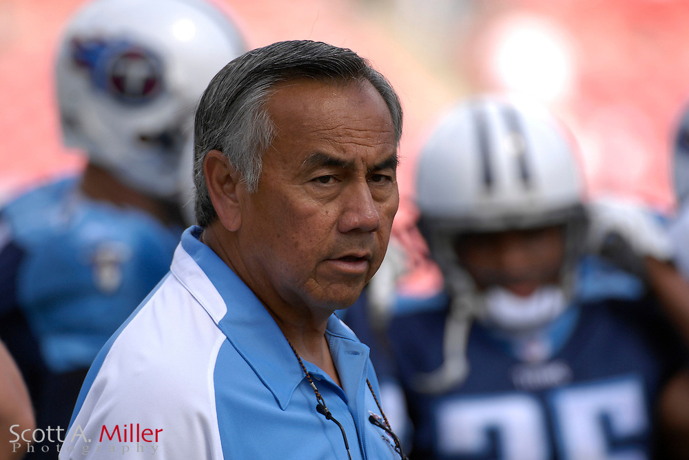 Oct. 14, 2007; Tampa, FL, USA; Tennessee Titans assistant coach Norman Chow prior to the start of his team's game against the Tampa Bay Buccaneers at Raymond James Stadium. ...©2007 Scott A. Miller
