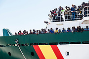 """29 June 2017, Salerno Italy - Arrived at the port of Salerno the Spanish ship """"Rio Segura"""" with 1216 migrants aboard. On board 11 pregnant womans , 256 children of which 13 newborns. The nationalities are: Congo, Nigeria, Ghana, Mali, Gambia, Niger, Guinea, Sudan, Senegal, Bangladesh, Pakistan, Cameroon. 300 people will remain in Campania, 150 in Piedmont, 75 in Tuscany, 96 in Lombardy, 75 in Veneto, 50 in Abruzzo and the same in Molise, Friuli Venezia Giulia, Marches, Trento and Bolzano, Basilicata and Umbria, 100 in Emilia- Romagna, 39 in Liguria, 11 in Aosta Valley. Around 260,000 people arrived in the United States and requested asylum, 120,000 in Italy, and France and Turkey each took in around 80,000. Sources by The Organisation for Economic Co-operation and Development (OECD)."""