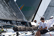 Peter De Ridder helms Mean Machine upwind during the Practice race of the AUDI Medcup in Cagliari
