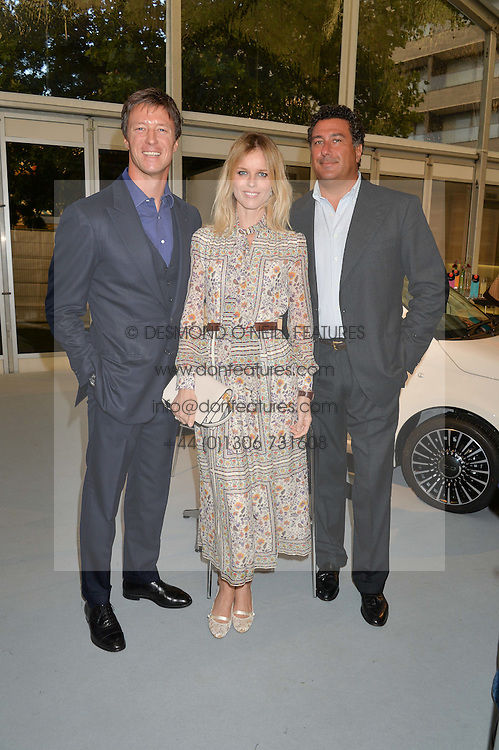 Left to right, GREGORIO MARSIAJ, EVA HERZIGOVA and EDOARDO TEODORANI-FABRI at the launch of the new remastered Fiat 500 featuring an exclusive performance by Ella Eyre held in Potters Field Park, Southwark, London SE1 on 2nd September 2015.