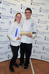 Left to right, ABIGAIL WATSON and LLOYD PINDER winners of the Cordon Bleu scholarships at the Grand Opening of Le Cordon Bleu's International Flagship School at 15 Bloomsbury Square, London WC1 on 7th February 2012.