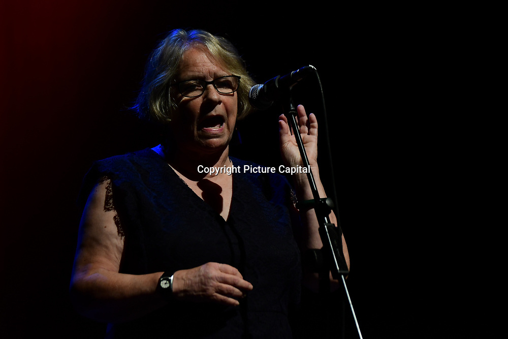 Lindsey German is a founder of Stop the War Coalition addresses the crowds at the Just Say No - Artists Against Trump & War host by Stop the War Coalition, Trump is not welcome in the UK at The Shaw Theatre on 8th July 2018.