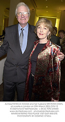 Actress PATRICIA HODGE and her husband MR PETER OWEN, at a party in London on 20th March 2002.OYN 12