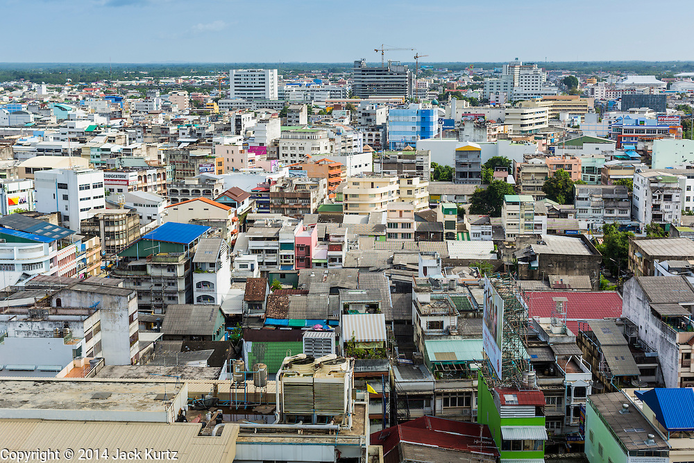 29 JULY 2014 - HAT YAI, SONGKHLA, THAILAND: Apartments and office buildings in Hat Yai, Thailand. Hat Yai is experiencing rapid economic growth and development. Hat Yai is the 4th largest city in Thailand and the largest outside of the Bangkok metropolitan area. It's less the 50 miles from the Malaysian border and is a popular vacation spot for Malaysian and Singaporean tourists.       PHOTO BY JACK KURTZ