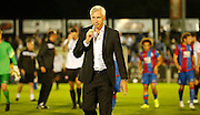 Alan Pardew leaves the pitch after the Pre-Season Friendly match between Bromley and Crystal Palace at the Courage Stadium, Bromley, United Kingdom on 30 July 2015. Photo by Michael Hulf.