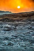 Sunrise over the lava field around the very active Erta Ale shield volcano, Danakil depression, Ethiopia