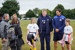 Joe Joyce and Mark Sorenson of Bristol Rugby look after a team as Local Junior Schools compete in a Tag Rugby Competion - Mandatory byline: Rogan Thomson/JMP - 07966 386802 - 14/07/2015 - SPORT - RUGBY UNION - Bristol, England - Durdham Downs -  Webb Ellis Cup visits Bristol as part of the 2015 Rugby World Cup Trophy Tour