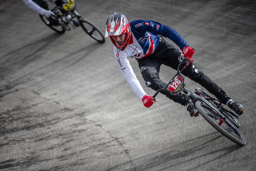 #126 during practice at the 2018 UCI BMX World Championships in Baku, Azerbaijan.