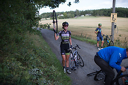 Pauliena Rooijakkers (NED) of Parkhotel Valkenburg - Destil Cycling Team signals for a new wheel after the crash on Stage 2 of the Ladies Tour of Norway - a 140.4 km road race, between Sarpsborg and Fredrikstad on August 19, 2017, in Ostfold, Norway. (Photo by Balint Hamvas/Velofocus.com)