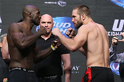 Las Vegas, Nevada, USA - July 4, 2014: Kevin Casey (left) and Bubba Bush (right) pose after weighing in for their preliminary card bout at UFC 175 at the Mandalay Bay Events Center in Las Vegas, Nevada.  Ed Mulholland for ESPN