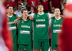Goran Jagodnik of Slovenia, Goran Dragic of Slovenia, Bostjan Nachbar of Slovenia and Samo Udrih of Slovenia during the quarter-final basketball match between National teams of Turkey and Slovenia at 2010 FIBA World Championships on September 8, 2010 at the Sinan Erdem Dome in Istanbul, Turkey.  (Photo By Vid Ponikvar / Sportida.com)