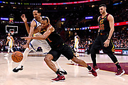 Jun 8, 2018; Cleveland, OH, USA; Cleveland Cavaliers guard Rodney Hood (1) and Golden State Warriors guard Shaun Livingston (34) go for  a loose ball during the second quarter in game four of the 2018 NBA Finals at Quicken Loans Arena.