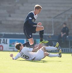 Falkirk's Jay Fulton over Raith Rovers Kevin Moon.<br /> Half time : Raith Rovers 1 v 0 Falkirk, Scottish Championship 28/9/2013.<br /> &copy;Michael Schofield.
