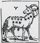 Zodiac sign of Aries. From 'Sphaera mundi', Strasburg, 1539