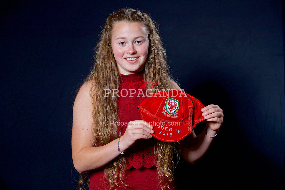 NEWPORT, WALES - Saturday, May 27, 2017: Lauren Harris with her Under-16 Wales cap at the Celtic Manor Resort. (Pic by David Rawcliffe/Propaganda)
