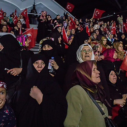 People attend a Yes rally organized by pro-government KADEM (Women and Democracy organization) at the Abdi Ipekci Arena in Istanbul on March 5, 2017.<br /> On April 16, 2017, Turkish citizens will vote on proposed changes on the constitution that could replace the current parliamentary government system with a presidential one.