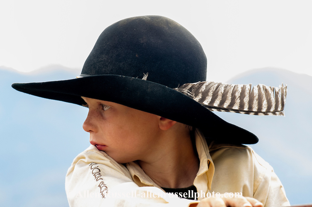 Cowboy, boy, young, kid, children, cowboy hat, feather, Montana