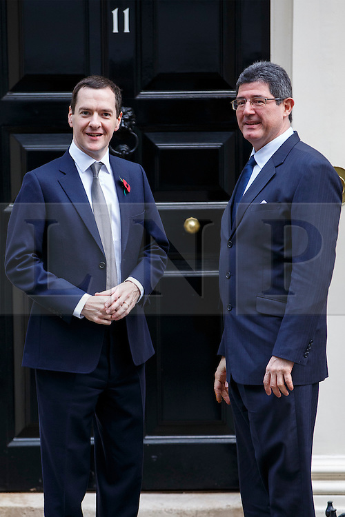 © Licensed to London News Pictures. 29/10/2015. London, UK. Chancellor George Osborne meets Brazil's Finance Minister Joaquim Levy in Downing Street on Thursday, 29 October 2015. Photo credit: Tolga Akmen/LNP