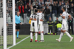 October 2, 2018 - Turin, Piedmont, Italy - Paulo Dybala (Juventus FC)  celebrates after scoring with teammates during the Juventus FC UEFA Champions League match between Juventus FC and Berner Sport Club Young Boys at Allianz Stadium on October 02, 2018 in Turin, Italy..Juventus won 3-0 over Young Boys. (Credit Image: © Massimiliano Ferraro/NurPhoto/ZUMA Press)