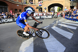 Mikkel Frelich Honore (DEN) Deceuninck-Quick Step rounds the hairpin to commence the San Luca climb during Stage 1 of the 2019 Giro d'Italia, an individual time trial running 8km from Bologna to the Sanctuary of San Luca, Bologna, Italy. 11th May 2019.<br /> Picture: Eoin Clarke | Cyclefile<br /> <br /> All photos usage must carry mandatory copyright credit (© Cyclefile | Eoin Clarke)