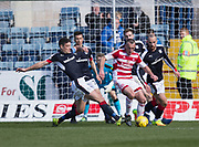 Dundee&rsquo;s Darren O&rsquo;Dea tackles Hamilton&rsquo;s Darian MacKinnon - Dundee v Hamilton Academical in the Ladbrokes Scottish Premiership at Dens Park, Dundee, Photo: David Young<br /> <br />  - &copy; David Young - www.davidyoungphoto.co.uk - email: davidyoungphoto@gmail.com