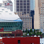 Downtown Kansas City in daytime with Kauffman Center and Power and Light Building