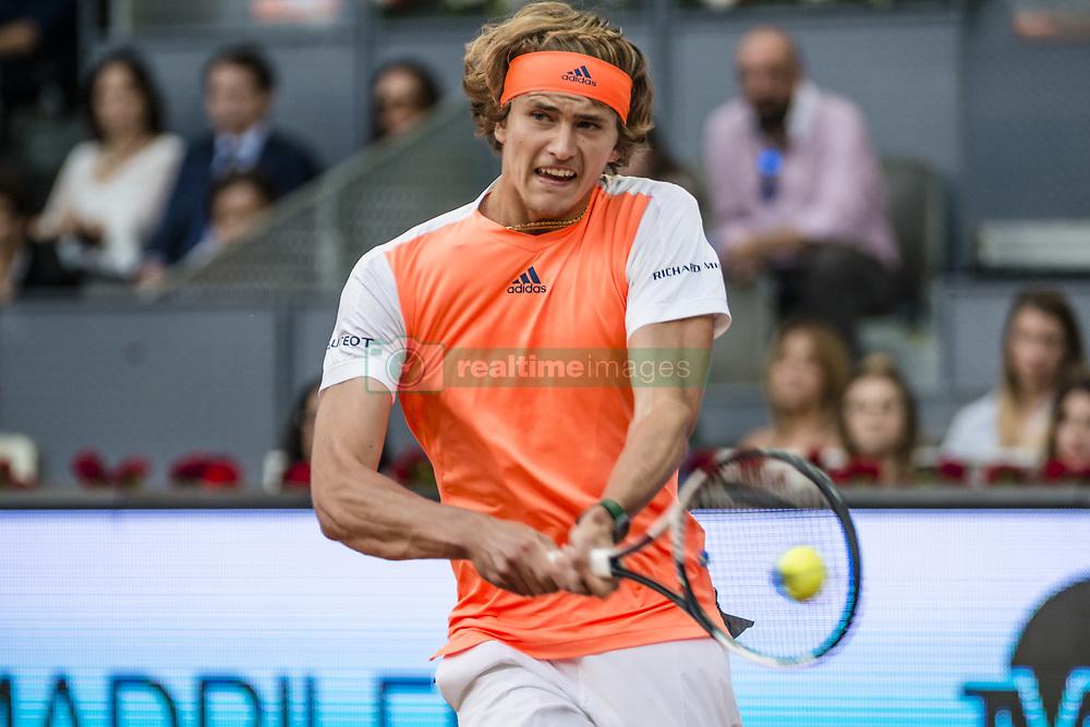 May 9, 2017 - Madrid, Madrid, Spain - ALEXANDER ZVEREV (GER) returns the ball to Fernando Verdasco (ESP) in round 1 of the 'Mutua Madrid Open' 2017. Zverev won 7:5, 6:3 (Credit Image: © Matthias Oesterle via ZUMA Wire)