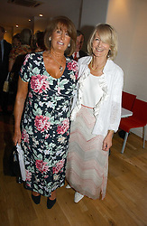 Left to right, LADY ANNABEL GOLDSMITH and SANDRA HOWARD at a party to celebrate the publication of Glass Houses by Sandra Howard held at Tamesa, Oxo Tower Wharf, Barge House Street, London SE1 on 5th September 2006.<br />