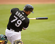 CHICAGO - JUNE 22:  Jose Abreu #79 of the Chicago White Sox bats against the Oakland Athletics during game one of a double header on June 0220, 2018 at Guaranteed Rate Field in Chicago, Illinois.  (Photo by Ron Vesely)  Subject: Jose Abreu
