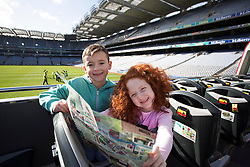 Repro Free: 03/03/2014 Kyle Burkem, (6) from Donaghmede and Alisha Burke (6) from Artane, find themselves in the middle of Croke Park as they help launch of the new City Sightseeing bus route at Croke Park stadium which now encompasses the Botanic Gardens, Glasnevin Cemetery and Croke Park.<br /> <br /> The new route will be open to the public from March 10th 2014 and extends the existing tour route. This &lsquo;true blue&rsquo; route will take visitors on a journey that gives an insight into the struggles and victories that shaped this country encapsulating social, cultural and sporting history, amazing views and landscapes from three of Dublin&rsquo;s top 10 attractions (Tripadvisor). In this decade of commemorations, these sites are at the forefront in remembering and commemorating great events and people in Irish history. Picture Andres Poveda