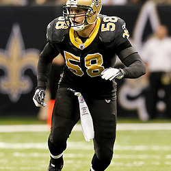 December 4, 2011; New Orleans, LA, USA; New Orleans Saints linebacker Scott Shanle (58) against the Detroit Lions during a game at the Mercedes-Benz Superdome. The Saints defeated the Lions 31-17. Mandatory Credit: Derick E. Hingle-US PRESSWIRE
