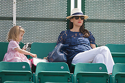 NOTTINGHAM, ENGLAND - Sunday, June 14, 2009: Greg Rusedski's wife Lucy with her daughter on finals day of the Tradition Nottingham Masters tennis event at the Nottingham Tennis Centre. (Pic by David Rawcliffe/Propaganda)