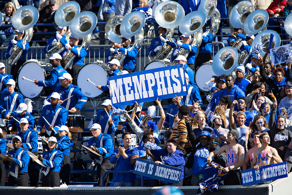 MEMPHIS, TN - OCTOBER 17:  Band of the Memphis Tigers during a game against the Ole Miss Rebels at Liberty Bowl Memorial Stadium on October 17, 2015 in Memphis, Tennessee.  The Tigers defeated the Rebels 37-24.  (Photo by Wesley Hitt/Getty Images) *** Local Caption ***