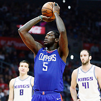 13 January 2018: LA Clippers forward Montrezl Harrell (5) is seen at the free throw line during the LA Clippers 126-105 victory over the Sacramento Kings, at the Staples Center, Los Angeles, California, USA.