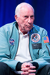 &copy; Licensed to London News Pictures. 28/09/2017. London, UK.  NASA Apollo 15 American pilot Al Worden is joined by <br /> the first British astronaut in space, Helen Sharman and British European Space Astronaut Tim Peake as they appear for the first time on same stage with at the New Scientist Live event.  The three legendary astronauts are from different era's. Photo credit: Ray Tang/LNP