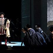 September 23, 2015 - New York, NY : Ildar Abdrazakov, left, performs as Henry (Enrico) VIII in a dress rehearsal for Gaetano Donizetti's 'Anne Bolena' at the Metropolitan Opera at Lincoln Center on Wednesday. CREDIT: Karsten Moran for The New York Times