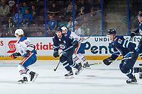 PENTICTON, CANADA - SEPTEMBER 9: Jansen Harkins #58 of Winnipeg Jets skates against the Edmonton Oilers on September 9, 2017 at the South Okanagan Event Centre in Penticton, British Columbia, Canada.  (Photo by Marissa Baecker/Shoot the Breeze)  *** Local Caption ***