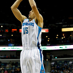 January 29, 2012; New Orleans, LA, USA; New Orleans Hornets power forward Gustavo Ayon (15) against the Atlanta Hawks during a game at the New Orleans Arena. The Hawks defeated the Hornets 94-72.  Mandatory Credit: Derick E. Hingle-US PRESSWIRE