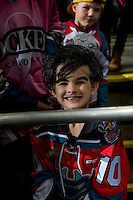 KELOWNA, CANADA - OCTOBER 26: A young fan dresses as Nick Merkley #10 of the Kelowna Rockets for Halloween on October 26, 2016 at Prospera Place in Kelowna, British Columbia, Canada.  (Photo by Marissa Baecker/Shoot the Breeze)  *** Local Caption ***