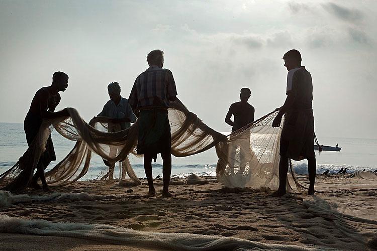 Fishermen untangling their nets. Kalmunai, October 2009.