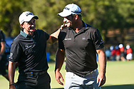PERTH, AUSTRALIA - FEBRUARY 17: Ryan Fox (NZL) gets a congratulation from Paul Dunne (IRL) on the 18th after the match play of the ISPS Handa World Super 6, Lake Karrinyup Country Club, Perth, Western Australia, on February 17, 2019. <br /> .<br /> .<br /> .<br /> (Photo by: Naratip Golf Srisupab/SEALs Sports Images)<br /> .<br /> Any image use must include a mandatory credit line adjacent to the content which should read: Naratip Golf Srisupab/SEALs Sports Images