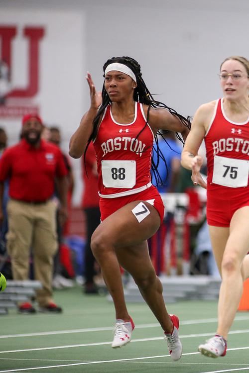 womens 60 meter prelim 2, BU, Alicia Thomas<br /> Boston University Scarlet and White<br /> Indoor Track & Field, Bruce LeHane