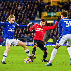 Tom Davies of Everton and Jesse Lingard of Manchester United challenge for a loose ball during the Premier League match between Everton and Manchester United, Goodison Park, Monday 1st January 2018<br /> (c) John Baguley | SportPix.org.uk