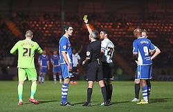 Peter Vincenti of Rochdale receives a yellow card  - Mandatory byline: Matt McNulty/JMP - 07966386802 - 29/09/2015 - FOOTBALL - Spotland Stadium -Rochdale,England - Rochdale v Shrewsbury - SkyBet League One