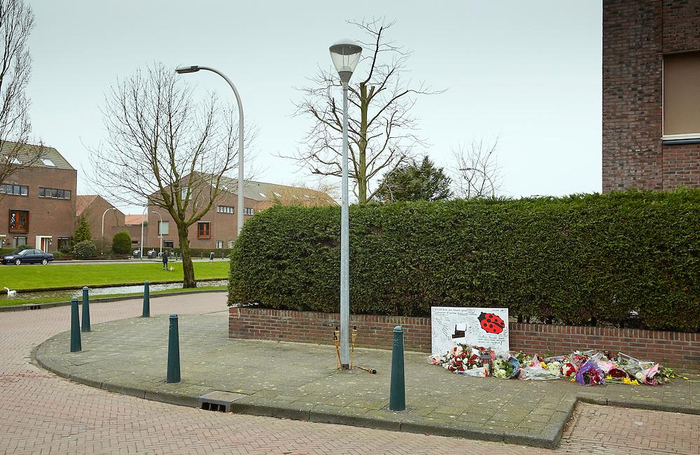 Den Haag, 22 februari 2016.<br /> In de wijk Ypenburg (Wrightlaan) is een monument opgericht voor een man die na een schietpartij om het leven kwam, zinloos geweld<br /> COPYRIGHT MARTIJN BEEKMAN