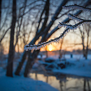 Frosty winter sunrise on Williams creek, Mt Vernon, Missouri